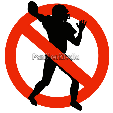 football player silhouette on traffic prohibition
