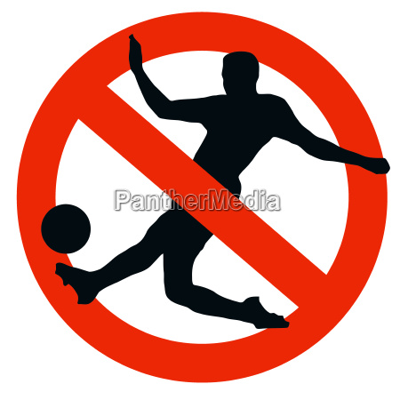 soccer player silhouette on traffic prohibition