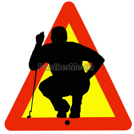 golf player silhouette on traffic warning