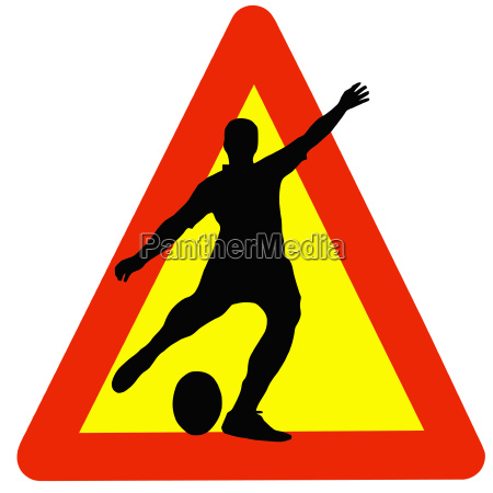 rugby player silhouette on traffic warning