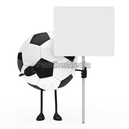fussball figur halten plakat