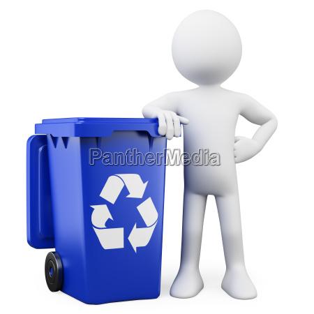 3d man showing a blue bin