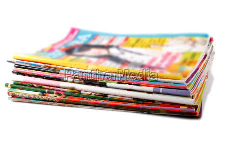 stack of old colored magazines