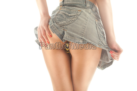 woman in a miniskirt with backside