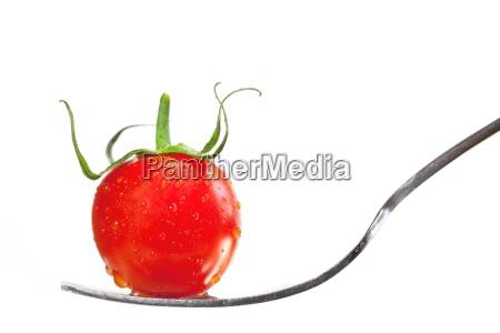 tomate auf der gabel