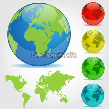 colorful earth globes illustration