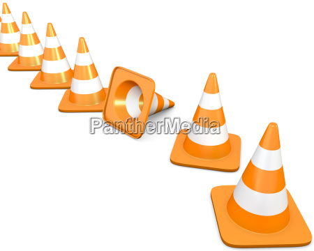diagonal line of traffic cones with