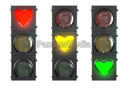 set of traffic light with heart