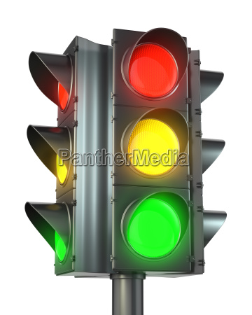 four sided traffic light with red