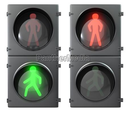 set of pedestrian light lights with