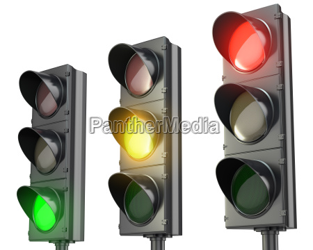three traffic lights red green and
