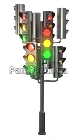 large group of traffic lights on