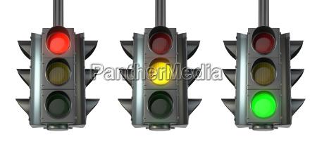 set of traffic lights red green