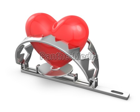 red heart caught in a trap