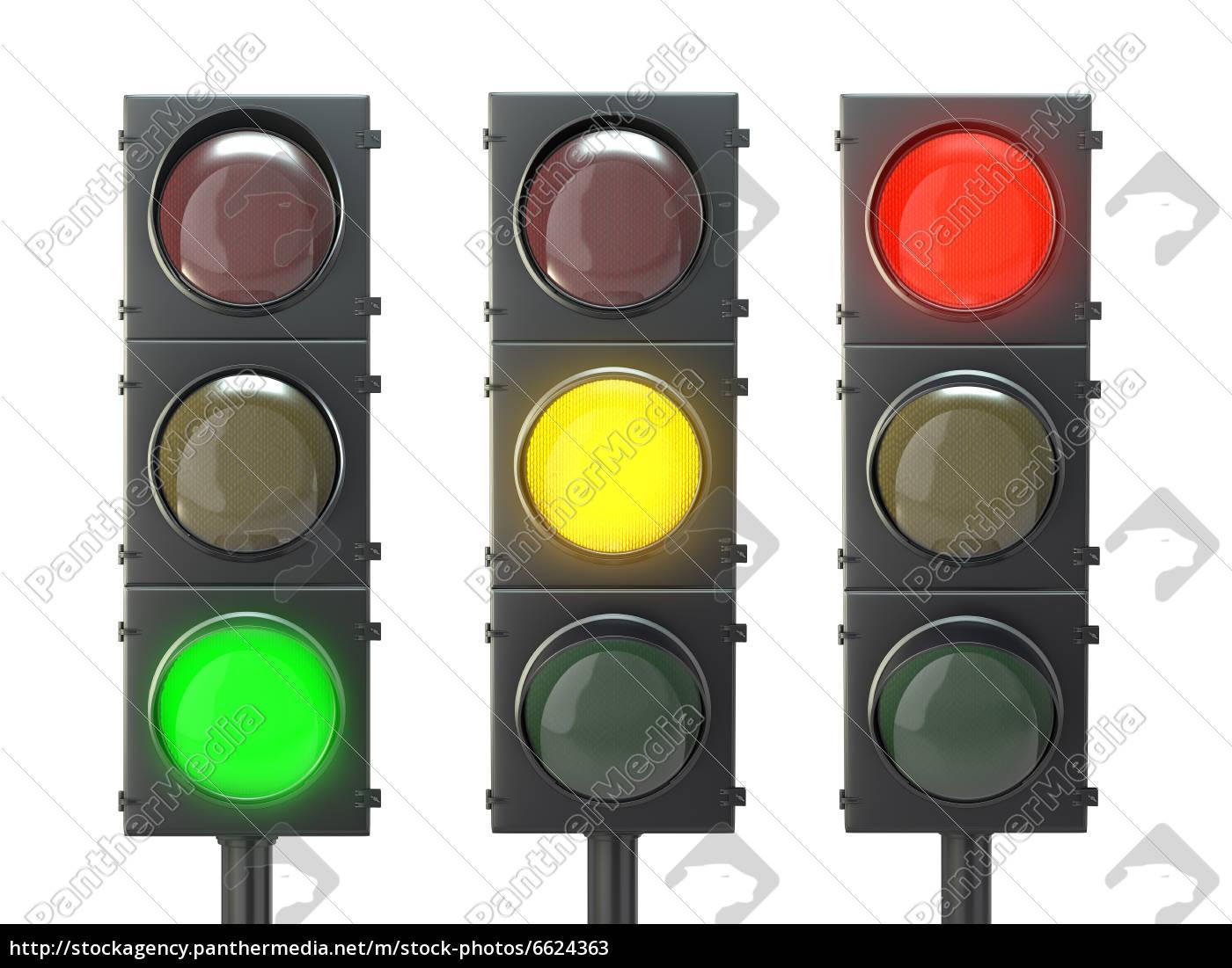 ampel, mit, roten, gelben, und, grünen, lichtern - 6624363