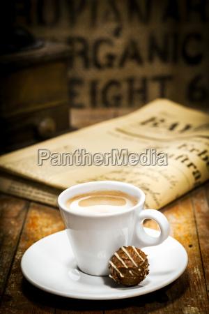 morning coffee break with newspaper