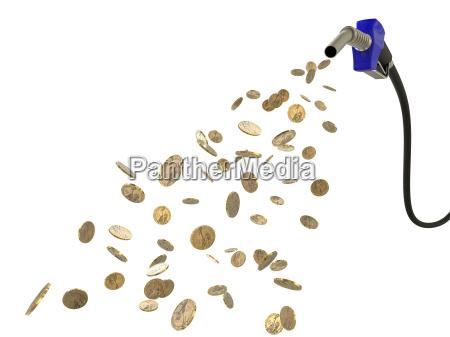 treibstoffduese giesst dollar muenzen