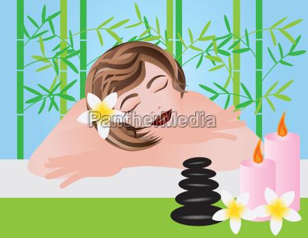 frau entspannen in spa illustration