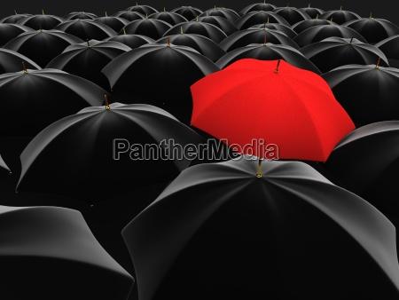 einzigartigen roten regenschirm