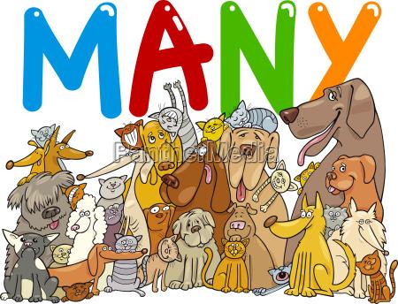 gruppe von vielen hunden und katzen