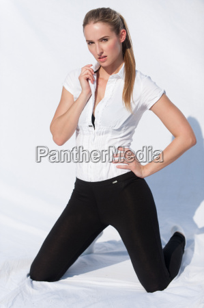 fashionable woman against white