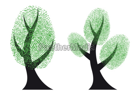 green fingerprint tree vector