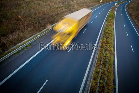 highway traffic motion blurred truck