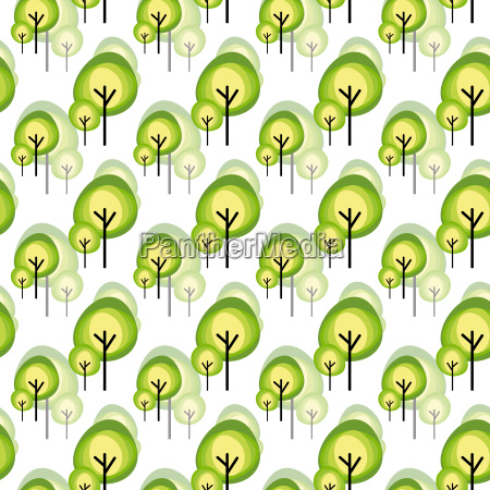 abstract green tree seamless pattern on