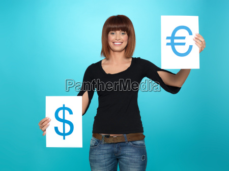 pretty woman showing dollar and euro