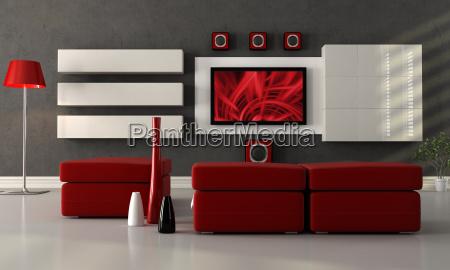 moderne lounge mit flachbild tv