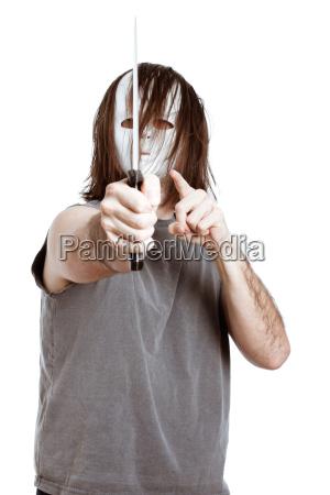 schaurig bedrohlich maskiert drohend getarnt killer