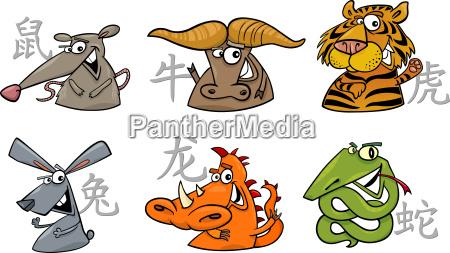 sechs chinesischen tierkreiszeichen