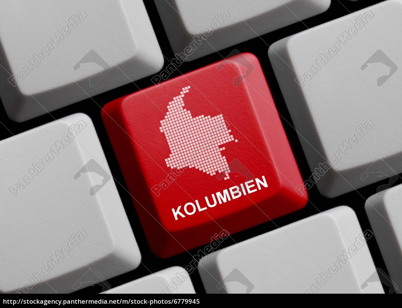 Kolumbien - Umriss auf Tastatur - Lizenzfreies Bild - #6779945 ...
