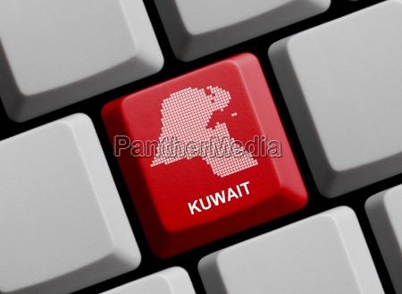 kuwait umriss auf tastatur