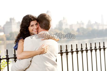hug smile woman