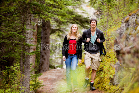 camping hiking man and woman
