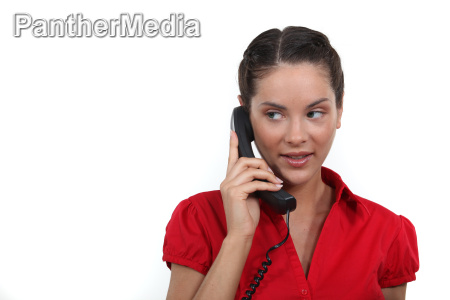 a businesswoman over the phone