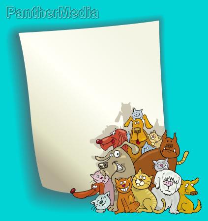 cartoon design mit katzen und hunden