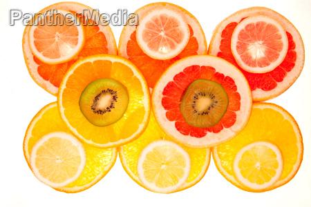 bunter hintergrund aus verschiedenen fruchtscheiben