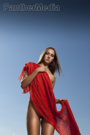 outdoor nudes girl blue sky