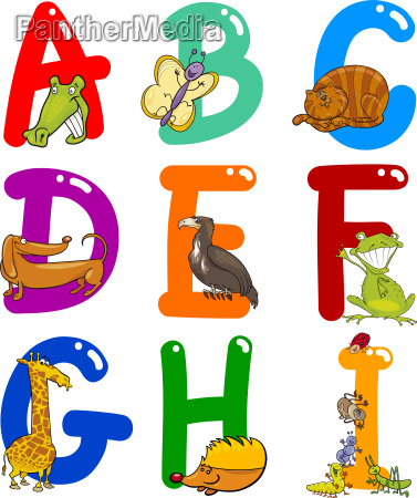 cartoon alphabet mit tieren