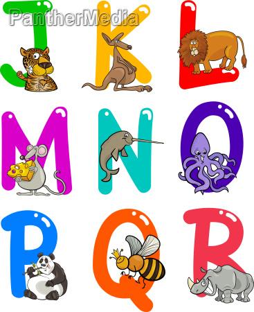 cartoon alphabet mit tieren