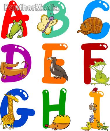 cartoon, alphabet, mit, tieren - 6900667