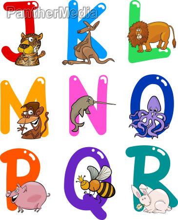 cartoon, alphabet, mit, tieren - 6900671