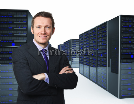 man and server