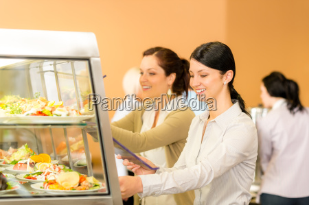 cafeteria lunch young woman take salad