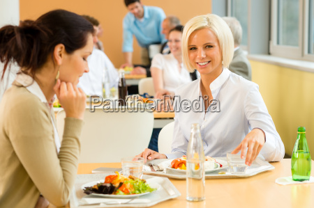 cafeteria lunch young business woman eat