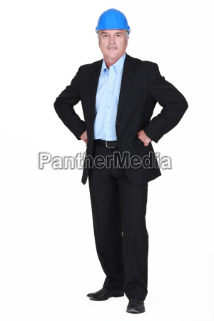 full body picture of mature architect