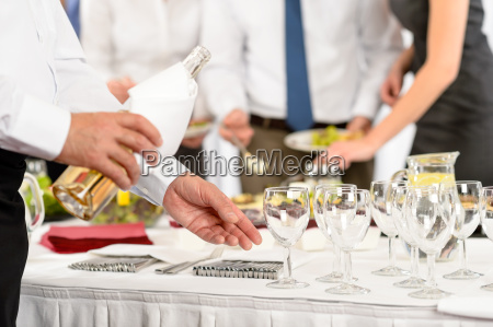 business buffet lunch caterer serve wine