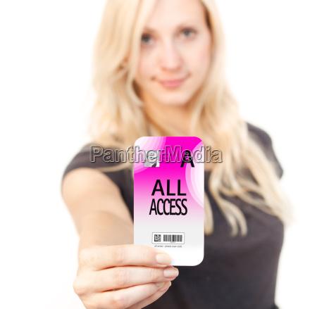 woman shows access card